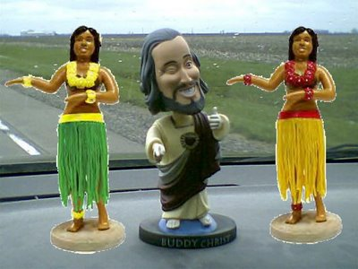 Dashboard Jesus with his Hula Girls