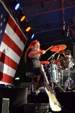 The drummer of the Buddy Emmer Bang, rocking out